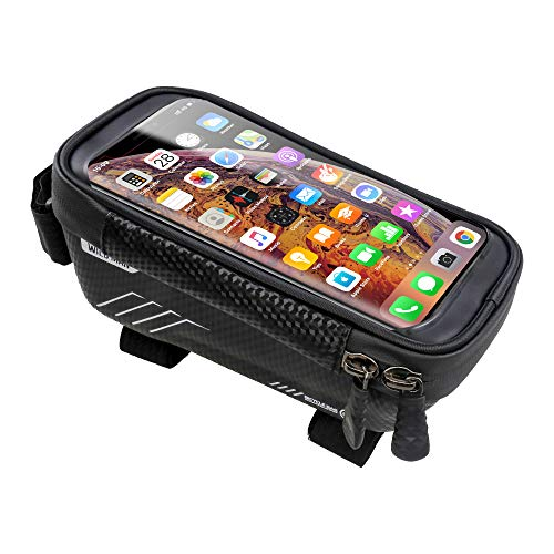 Bike Phone Front Frame Bag, Waterproof Bicycle Phone Mount Bag Touch Screen Mountain Bicycle Phone Holder Pouch Large Capacity Phone Case for Cellphone Below 6.5''