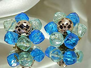 X Gorgeous Vintage 1950's West Germany Blue Cluster Bead Clip Back Earrings PU-7760