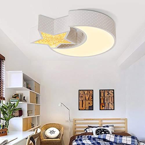 Style home 24W Kinderlampe LED Deckenlampe Deckenleuchte voll dimmbar mit Fernbedienung Mond mit Stern für Kinderzimmer Wohnzimmer Schlafzimmer (50 * 40 * 8cm)