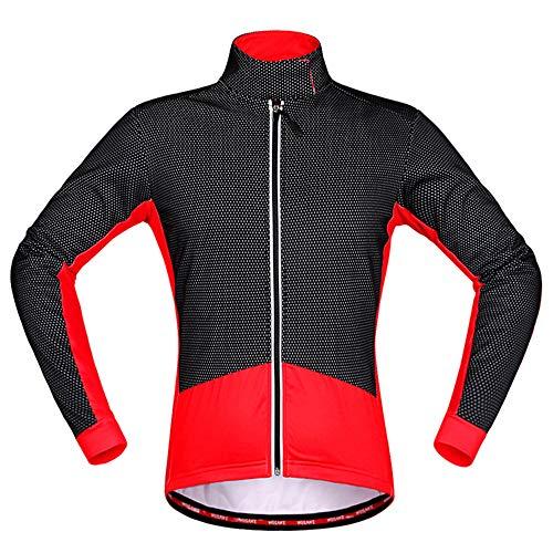 HBRT Fleece ciclos térmicos Capa de la Chaqueta de los Hombres de Manga Larga Impermeable de Deportes al Aire Libre Rompevientos para Running Ciclismo Montar,Rojo,M