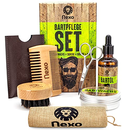 NEXO ® Bartpflege Set – [60] g Bartwachs & [50] ml Bartöl – Bart Box mit Bartwachs + Bartöl + Bartschere + Bartbürste + Bartkamm – Ideales Geburtstagsgeschenk für Männer