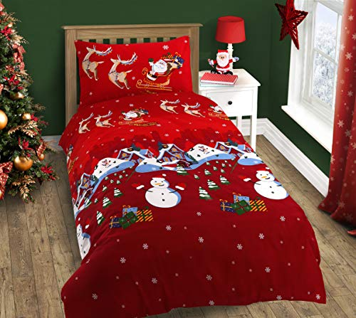 Velosso Christmas Santa and Friends Reindeer Festive Nativity Duvet/Quilt Cover Red Xmas Bedding Set (Single Bed)