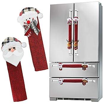 Mosoan Christmas Refrigerator Door Handle Covers Set of 6 Santa Snowman Kitchen Appliance Handle Covers Fridge Microwave Oven Dishwasher Door Handle Protector Holiday Decorations
