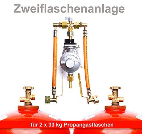 Manuelle 50 mbar Zweiflaschenanlage für 33 kg Propangasflaschen / Gasflaschen (Flaschenanlage, Druckminderer, Propangas Flüssiggas Anlage, Großflaschenanlage)