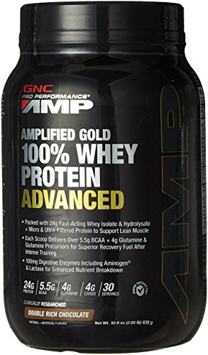 GNC AMP Amplified Gold 100% Whey Protein Advanced...