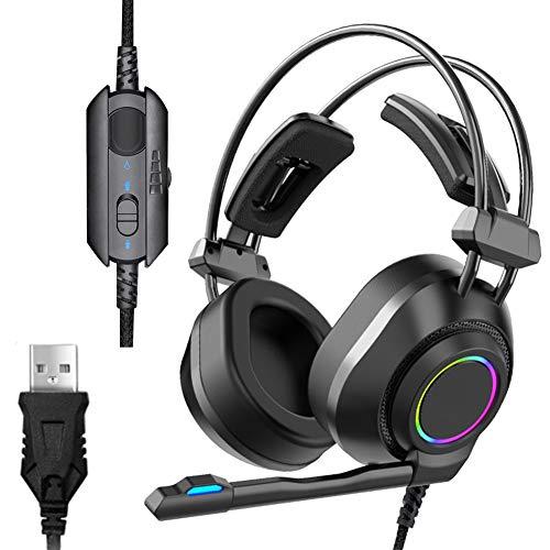 ENEN Casque de Jeu Casque Filaire USB, Microphone de réduction du Bruit de Son Surround 7.1 Faisceau de tête d'aile Volante réglable à lumière Froide RVB, adapté pour PC