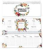 Agenda settimanale con fiori / agenda senza data / calendario da tavolo / agenda 2021 / formato orizzontale / weekly planner appuntamenti / agenda perpetua / agenda fiori 60 settimane / in inglese