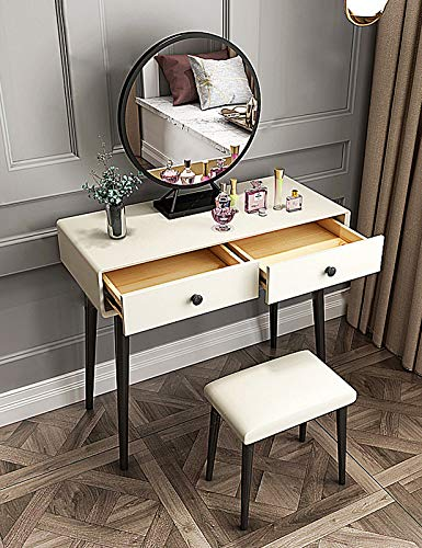 MYAOU Weißer Schminktisch mit Spiegel und Stuhl, Schlafzimmermöbel-Set mit Kosmetikschubladen, PU-Sitz gepolsterter Hocker Girls Vanity Table