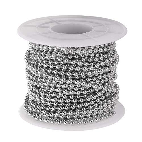 Supvox metallperlenkette Edelstahl kugelkette für DIY Handwerk Dekoration 2,4mm Durchmesser 1 Rolle 10 Meter länge
