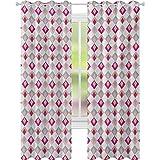 Cortinas opacas para dormitorio, cuadros en diferentes colores suaves con formas de diamante vinculadas, 52 x 95, cortinas de ventana de salón, dormitorio, color rosa melocotón caqui