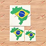 Brazil Brazilian Map Flag Outline Vinyl Decal Sticker - 3 Pack Reflective, 3 Inches, 4 Inches, 6 Inches - for Car Boat Laptop Cup