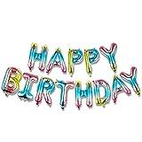 KUNGYO Banner de Globos de Feliz Cumpleaños - 16 Inch Happy Birthday Banner Carta de Papel de Aluminio Inflable Degradado de Color Fiesta de Cumpleaños Decoraciones Suministros