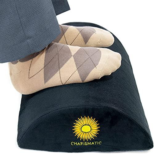 Charismatic Under Desk Footrest Ergonomic Memory Foam Foot Rest Under Desk Foot Stool for Desk at Work Office Footrests Help with Posture, Knee, Back Pain Soft Comfortable Desk Footrests Foot Pillow