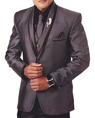 INMONARCH Hommes Costume Smoking Gris Regardez Ultime 7 Pc TX926R36 46 Or S (Hauteur 171 cm a 180 cm) Gris foncÉ