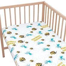 Amigos de peces y medusas - Pati'Chou 100% Algodón Sábana bajera ajustable Diseño Animales para cama infantil 70 x 160 cm