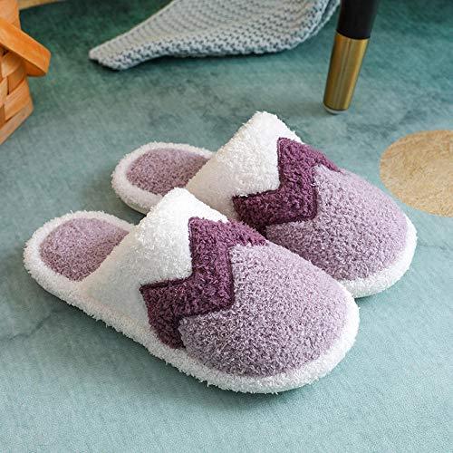 MDCGL Zapatillas De Animales,Zapatillas de algodón para Parejas cálidas de Interior para Mujer, Zapatos de Lana para el hogar a Juego con el Color de los Hombres, Invierno púrpura EU39-40