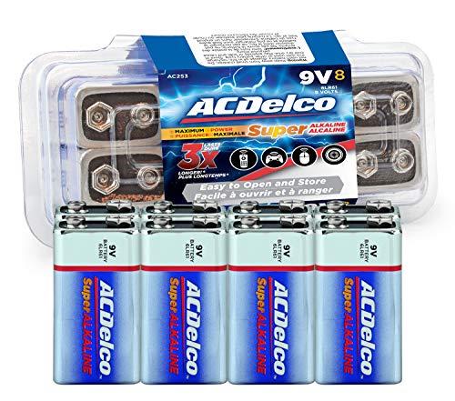ACDelco 8-Count 9 Volt Batteries, Maximum Power Super Alkaline Battery, 7-Year Shelf Life, Recloseable Packaging