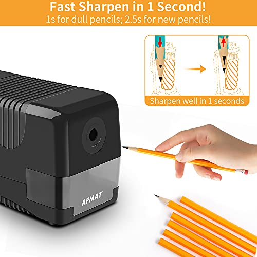 AFMAT Electric Pencil Sharpener Heavy Duty Plug in, Commercial & Industrial Pencil Sharpener, Auto Stop, Fast Sharpen in 1s, Classroom Pencil Sharpener for No.2/Colored Pencils,Christmas Gift for Kids Photo #5