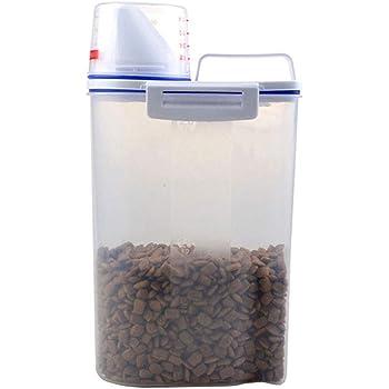 Herewegoo - Caja hermética de Almacenamiento de Alimentos para Mascotas, 2,5 L, contenedor de Comida Seca para Perros y Gatos, con Cuchara medidora para el hogar: Amazon.es: Hogar