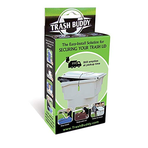 Trash Buddy - Dog Proof Trash Can Lock - The Easy-Install Solution for Securing Your Outdoor Garbage Can Lid - Still EMP