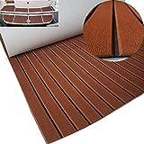 yuanjiasheng New Design EVA Faux Teak Decking Sheet For Boat Yacht Non-Slip Marine Flooring Mat 94.5'× 35.4' Bevel Edges (drak brown with black lines)