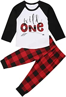 Baby Boys Girls Clothes, 2Pcs Infant Toddler Wild One Arrow Long Sleeves Top T Shirt Red Plaid Pants Outfits Clothing