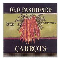ZNNHERO昔ながらのニンジンポスター北欧の壁アート野菜のキャンバスの絵画家の装飾キッチンレストランの装飾画像-60X60Cmx1フレームなし