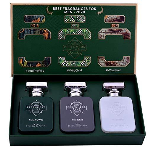 "Perfumer's Club""Best Fragrance for Men 2020"" Gift Set of 3(Into The Wild + Wild Child + Wanderer) Upto 24 hrs lasting (Eau De Parfum), 150 ml, Green"