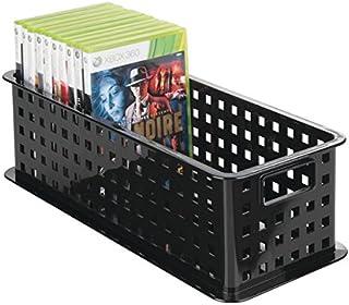 mDesign Caja de almacenaje para DVDs o CDs – Porta CD y DVD – Cajas de plástico de color negro – Caja organizadora para Bl...