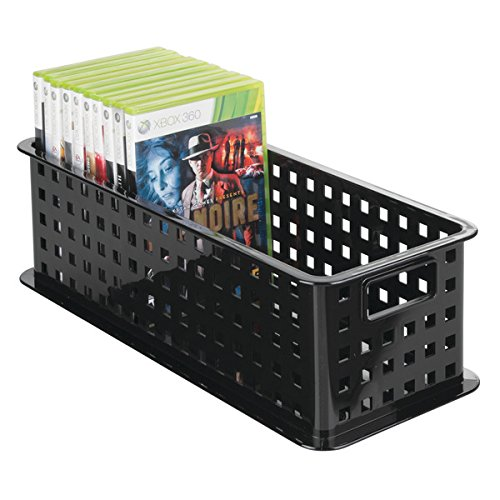 mDesign Caja de almacenaje para DVDs o CDs – Porta CD y DVD – Cajas de plástico de color negro – Caja organizadora para Blu-ray y videojuegos