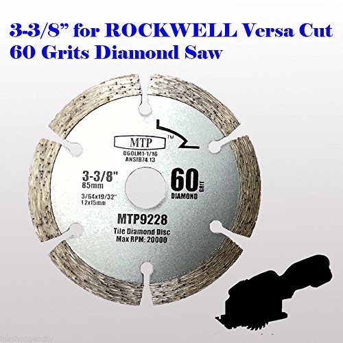 MTP brand 60 Grits 3-3/8 inch 15mm arbor Diamond Circular Saw Blade for Rockwell Versacut Versa Cut Rk3440k, Makita 3-3/8