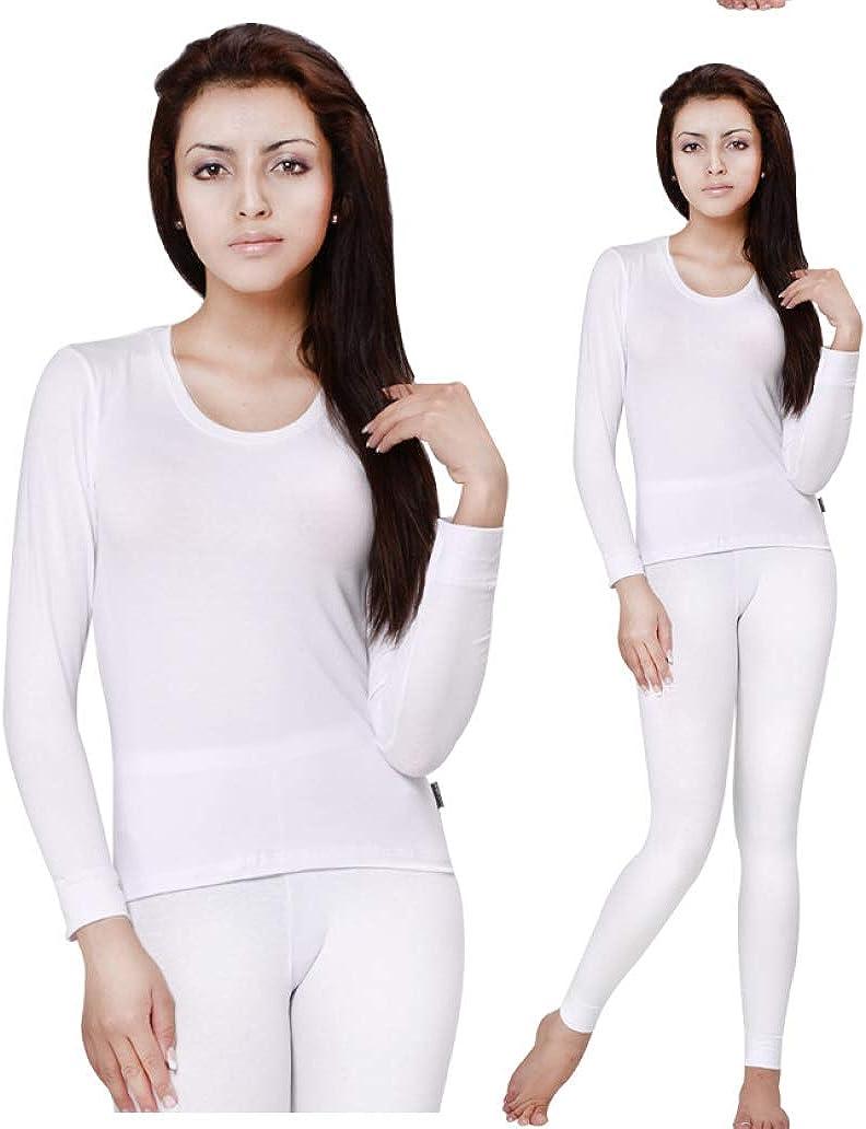 Women's Cotton Long Johns Set Winter Thermal Underwear Round-Neck Long Sleeve Ladies Body Shaping Pajama Set