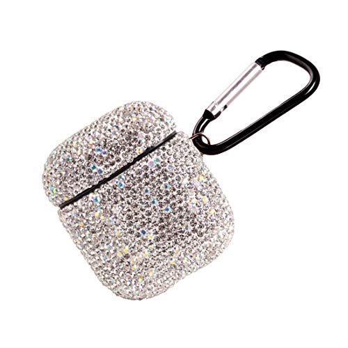 2020 Newest Luxurious Rhinestone AirPods Case with Keychain, Shockproof Protective Premium Crystal Cover Skin for AirPods Charging Case 2 & 1 (White+AB C5)