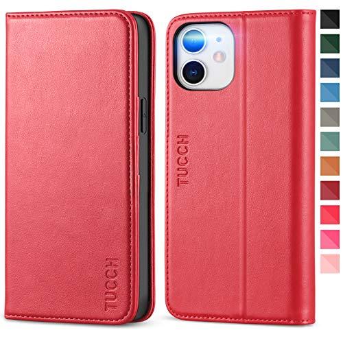 TUCCH iPhone 12 Pro Hülle, iPhone 12 Hülle, Stoßfeste Handyhülle, [Verdicktes TPU] [Kartenfach] [Standfunktion] [Premium Leder], Schutzhülle für iPhone 12/12 Pro (6,1 Zoll) Rot