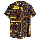 OPAKY Camisas cortas de hombre de lino étnico de manga corta con estampado casual blusa de gasa con patinete, marrón, XXL