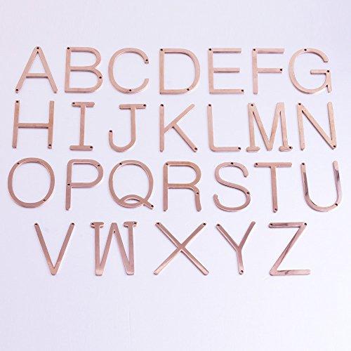 roestvrij staal Brief Hanger Charm, Rose Goud grote initiële ketting diy personaliseren sieraden, oversize bron, verkocht 1st/partij, W