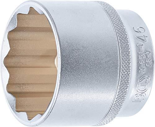 """BGS 10651-1 - Llave de vaso de doce cantos (12,5 mm, 1/2"""", SW 46 mm, acero CV)"""