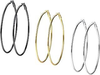 PROSTEEL Ohrringe für Damen Edelstahl Creolen Huggie Kreolen Ohrringe Große Kreis/Stern/Herz Form Hoop Klappcreolen Fashion Ohrschmuck 30mm-70mm Gold/Schwarz/Silber
