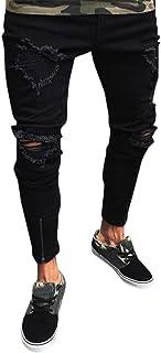 Men Jeans Daoroka Vintage Slim Fit Stretchy Skinny Biker Zipper Denim Distressed Pants