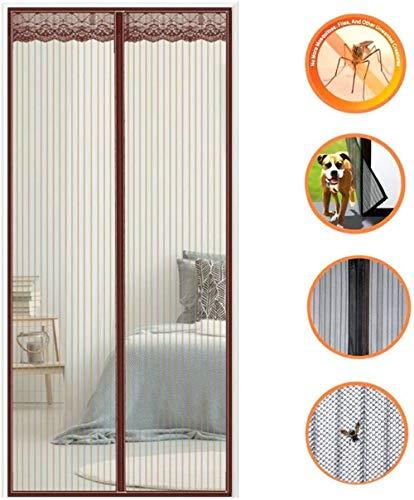 KK-Luftbefeuchter Magnet Fliegengitter Tür, Fliegengitter Balkontür, Insektenschutz, Automatisches SchließEn, für Balkontür Wohnzimmer Terrassentür - Brown 90x200cm(35x79inch)