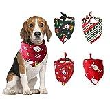 4 piezas,Pañuelo para Perros Lavable,Pañuelos de Navidad para Perro,Mascota Navidad Baberos Lavables,Pañuelo para Perros Lavable,Perros y Gatos Baberos Triángulo.