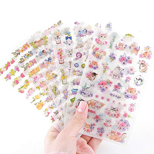 6 unids/Lote DIY Kawaii PVC Pegatinas de Flores Unicornio Dibujos Animados Gato papelería Pegatinas Scrapbooking para decoración álbum de Fotos Diario