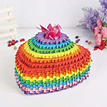 Rainbow Color Large 3D Origami Folded Paper Scrapbooking Heart Jewelry Gift Secret Box Kit Valentine DIY Crafts Kids Decor Papercraft