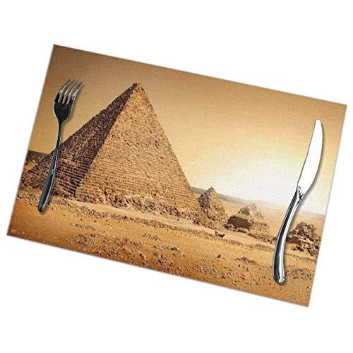 Tischsets 6er-Set Waschbare, rutschfeste, hitzebeständige ägyptische Pyramidentisch-Tischsets für den Esstisch in der Küche