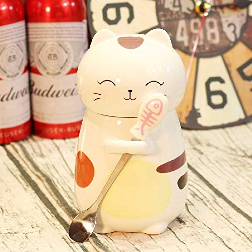 Niedliche Cartoon Katze Keramik Tasse Mit Deckel Löffel Dicken Bauch Becher Große Kapazität Kreative Wasser Tasse Paar Kaffeetasse 401-500 ml/Schielende Katze
