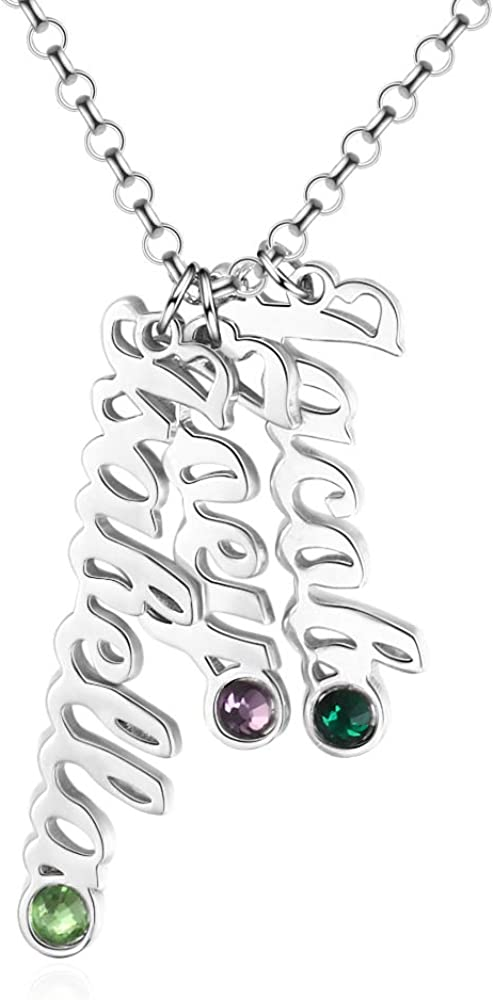Max 49% OFF Personalized Vertical Bar Max 74% OFF Necklace Birthstones with Simulated 3