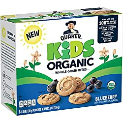 Quaker Kids Organic Whole Grain Bites, Blueberry, 1.05oz Pouches, 5 Count