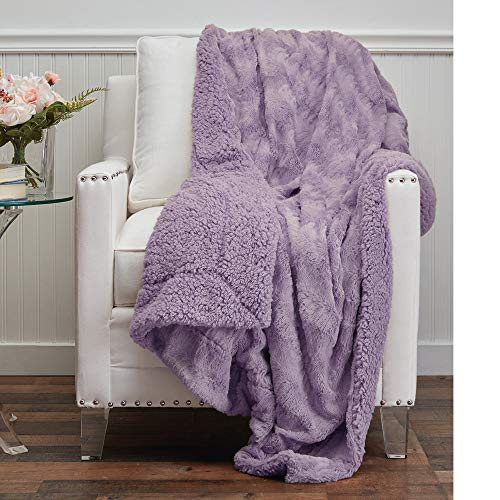 The Connecticut Home Company Faux Fur with Sherpa Reversible Throw Blanket, Many Colors, Super Soft, Large Plush Luxury Blankets, Warm, Washable Throws for Couch or Bed, 65x50, Purple