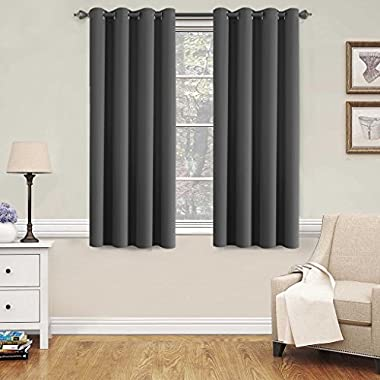 H.VERSAILTEX Blackout Grey Curtains for Bedroom/Living Room, 52  Wide x 63  Long Each Panel,Grommet Top (Set of 2 Panels, Charcoal Gray)