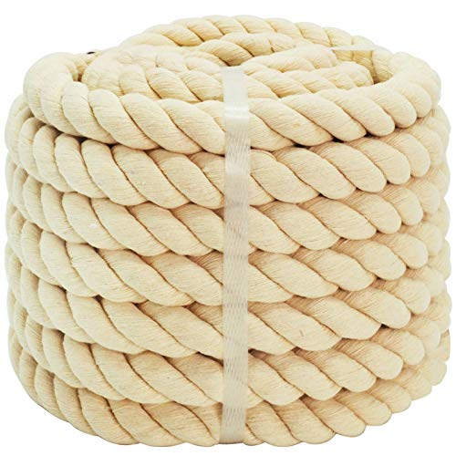100% Cotton Rope (1 inch x 48 feet) Natural Thick Twisted Rope for Crafts, Sports Tug of War, Hammock, Home Decorating Wedding Rope